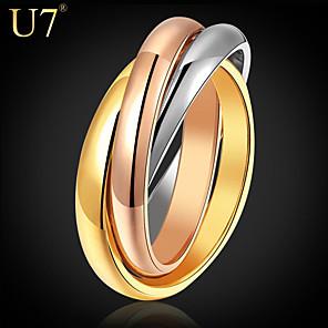 ieftine Inele-Pentru femei Inel Curcubeu Teak Placat Auriu Placat Cu Aur Roz femei Neobijnuit Design Unic Nuntă Zilnic Bijuterii Grămadă Două-Tonuri Inel de nunta rusesc