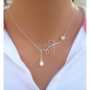 ieftine Colier la Modă-Pentru femei Coliere Modă Plastic Imitație de Perle Argintiu Alb-Argintiu Coliere Bijuterii Pentru Nuntă Petrecere Zilnic Casual