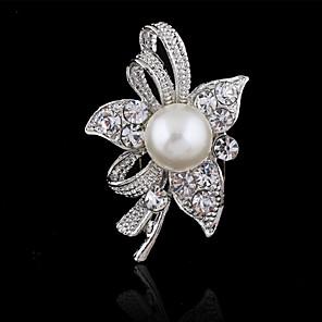 ieftine Broșe-Pentru femei Broșe Floare femei Modă Cristal Broșă Bijuterii Argintiu Pentru Nuntă Petrecere