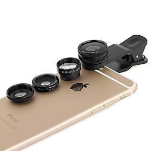 ieftine Microscop & Endoscop-apexel 4 în 1 2x telefoto, Fisheye și obiectiv macro& 0.65x obiectiv larg cu clip pentru iPhone 4/5 / 6s / 6S plus (culori asortate)