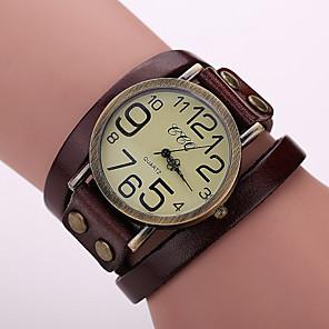 ieftine Ceasuri Brățară-Pentru femei Ceas Brățară Quartz Wrap femei Ceas Casual Piele Negru / Alb / Albastru Analog - Alb Negru Rosu Un an Durată de Viaţă Baterie