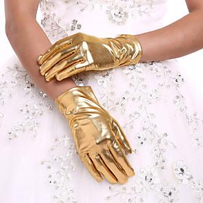 ieftine Mănuși & Mănuși 1 deget-Imitație Piele Lungime Încheietură Mănușă Mănuși de Mireasă Cu Volane
