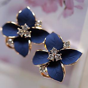ieftine Cercei-Pentru femei Cercei Stud Floral Floare Camellia femei Modă Elegant Ștras Placat Auriu cercei Bijuterii Curcubeu / Alb Pentru Petrecere Zilnic Casual 1 Pair