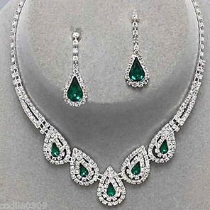 ieftine Seturi de Bijuterii-Pentru femei Safir Cristal citrin Seturi de bijuterii Cercei Picătură Coliere cu Pandativ Picătură femei Lux Petrecere Elegant de Mireasă De Fiecare Zi Zirconiu Cubic Diamante Artificiale cercei