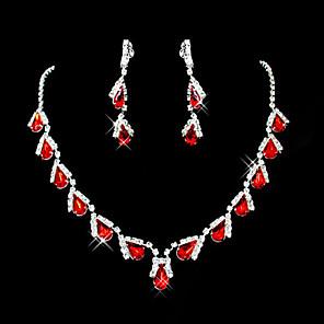 voordelige Sieraden Set-Dames Rood Synthetische Ruby Hangertjes ketting Oorbel Peer Briolette Drop Dames Feest Elegant Dagelijks Kubieke Zirkonia Gesimuleerde diamant oorbellen Sieraden Rood / Rode ketting en oorbellen