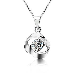 ieftine Coliere-Pentru femei Cristal Coliere cu Pandativ Solitaire faceter femei Modă Bling bling Plastic Cristal Argintiu Argintiu Coliere Bijuterii Pentru Petrecere Zilnic Casual
