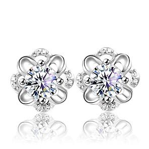 ieftine Cercei-Pentru femei Cristal Cercei Stud Floare femei Modă Cute Stil Plastic Cristal Argintiu cercei Bijuterii Argintiu Pentru Nuntă Petrecere Zilnic
