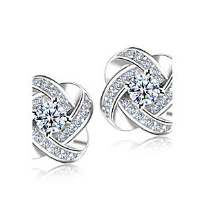 ieftine Cercei-Diamant sintetic Cercei Stud Rundă HALO Floare femei stil minimalist Modă Elegant de Mireasă Plastic Cristal Ștras cercei Bijuterii Argintiu Pentru Nuntă Petrecere Cadou Zilnic Mascaradă Petrecere