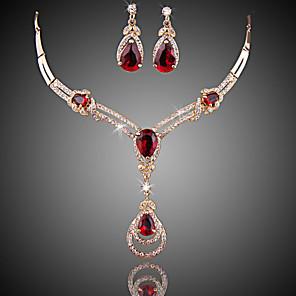 ieftine Inele-Pentru femei Roșu Multicolor Cristal Sintetic Ruby Seturi de bijuterii Cercei Picătură Coliere cu Pandativ femei Lux Modă Zirconiu Cubic Placat Auriu cercei Bijuterii Negru / Mov / Rosu Pentru Nunt