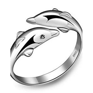 ieftine Inele-Pentru femei Band Ring manşetă Ring inel de înfășurare Argintiu Plastic femei Modă Cute Stil Nuntă Petrecere Bijuterii Dolphin Animal Prietenie Ajustabil