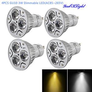 ieftine Spoturi LED-YouOKLight 4 buc 3 W Spoturi LED 280 lm GU10 R63 3 LED-uri de margele LED Putere Mare Intensitate Luminoasă Reglabilă Decorativ Alb Cald Alb Rece 220-240 V 110-130 V / 4 bc / RoHs