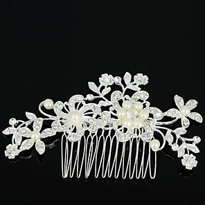 ieftine Piepteni-Pentru femei Piepteni de Păr Pentru Nuntă Petrecere Zilnic Flori Zirconiu Ștras Aliaj Argintiu