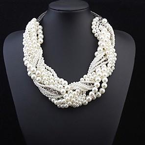 ieftine Colier la Modă-Pentru femei Perle Coliere Multistratificat Răsucit Declarație femei Lux Perle Aliaj Alb Coliere Bijuterii Pentru Nuntă Petrecere Ocazie specială Costume Cosplay