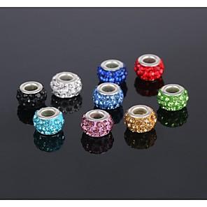 ieftine Bijuterii de Păr-DIY bijuterii 5 buc Χάντρες Ștras aliaj de zinc Argintiu Diamante Artificiale Rotund Round Shape Circle Shape Şirag de mărgele 1 cm DIY