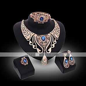 povoljno Modne ogrlice-Sitne naušnice Choker oglice Prsten obećanja Vintage Zabava Okrugla Kubični Zirconia Naušnice Jewelry Crvena / Plava Za 1set / Ogrlice