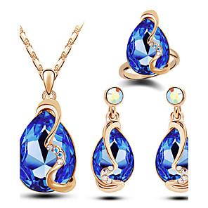ieftine Seturi de Bijuterii-Pentru femei Cristal Seturi de bijuterii Pară Solitaire Picătură Dispozitie femei Lux Modă Cristal Austriac cercei Bijuterii Alb / Auriu / Galben Pentru Cadouri de Crăciun Nuntă Petrecere Zilnic