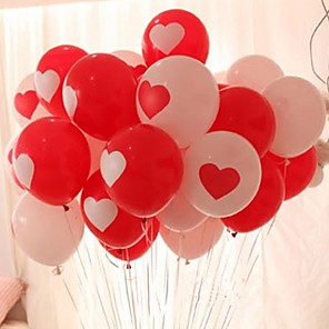 cheap Kids Activity Kits-Red White Balloons Love Heart Wedding Birthday Valentine Day Decoration 10pcs