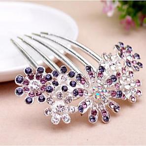 ieftine Bijuterii de Păr-Pentru femei Piepteni de Păr Pentru Nuntă Petrecere Zilnic Temă Florală Flori Ștras Aliaj Mov Roz Albastru