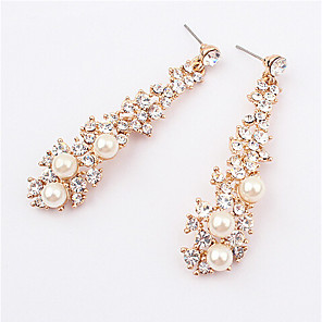 ieftine Cercei-Pentru femei Perle Cercei Picătură Hanging Cercei Lung 3 piatră femei European Modă Perle Imitație de Perle Ștras cercei Bijuterii Culoare ecran Pentru Nuntă Mascaradă Petrecere Logodnă Bal Promisiune