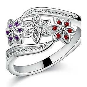 cheap Switches & Sockets-Women's Couple Rings Statement Ring Open Cuff Ring Cubic Zirconia Silver Sterling Silver Zircon Ladies Bridal Christmas Gifts Wedding Jewelry Flower Love
