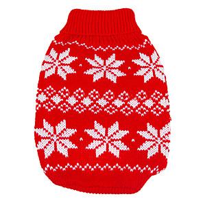 ieftine Pet Costume de Crăciun-Câine Pulovere Fulg zăpadă Keep Warm Crăciun Anul Nou Iarnă Îmbrăcăminte Câini Rosu Albastru Costume De Lână XS S M L XL XXL