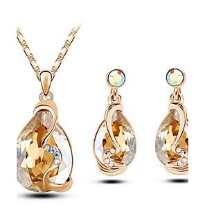 ieftine Seturi de Bijuterii-Pentru femei Cristal Seturi de bijuterii Pară femei Cristal cercei Bijuterii Auriu / Alb / Rosu Pentru Nuntă Petrecere Zi de Naștere Logodnă Cadou Zilnic / Cercei / Coliere