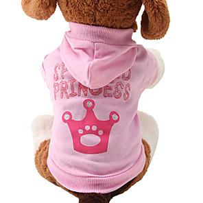 ieftine Jucării Câini-Pisici Câine Hanorace cu Glugă Tiare & Coroane Modă Iarnă Îmbrăcăminte Câini Respirabil Roz Costume Bumbac XS S M L