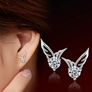 ieftine Cercei-Pentru femei Diamant Zirconiu Cubic Cercei Stud femei Plastic Zirconiu Argintiu cercei Bijuterii Argintiu Pentru Nuntă Petrecere Zilnic Casual Sport