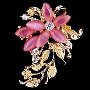 ieftine Broșe-Pentru femei Broșe Floare femei Petrecere Birou Casual Modă Cristal Zirconiu Cubic Opal Broșă Bijuterii Roz Pentru Nuntă Petrecere Ocazie specială Aniversare Zi de Naștere
