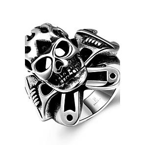 ieftine Ceasuri Bărbați-Bărbați Inel Argintiu Teak Punk European Modă Halloween Zilnic Bijuterii Craniu