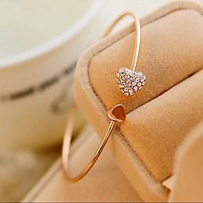 levne Náramky-Dámské Kotníkové náramky Široké náramky Srdce dámy minimalistický styl Módní Cute Style Štras Náramek šperky Pro Svatební Párty Dar Denní Ležérní Plesová maškaráda