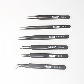 ieftine Gadget Baie-negru pensete non-magnetice, sac anti-static pentru electronice, bijuterii de luare, laboratoare, etc. (6p)