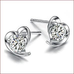 ieftine Bijuterii de Păr-Pentru femei Diamant Zirconiu Cubic Cercei Stud Solitaire Inimă femei Plastic Zirconiu Argintiu cercei Bijuterii Alb / Mov Pentru Nuntă Petrecere Zilnic Casual Sport Mascaradă