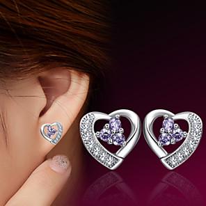 ieftine Cercei-Pentru femei Cercei Stud Inimă femei Plastic Argintiu cercei Bijuterii Pentru Nuntă Petrecere Zilnic Casual Sport