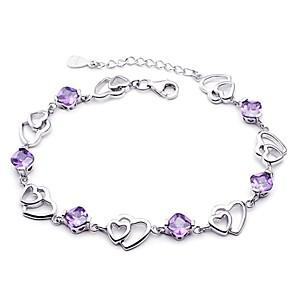 ieftine Brățări-Pentru femei Brățări cu Lanț & Legături Inimă Iubire Hollow Heart femei Plastic Bijuterii brățară Mov Pentru Nuntă / Argilă