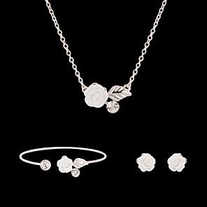 ieftine Accesorii PS4-Diamant sintetic Seturi de bijuterii Cercei Stud Coliere cu Pandativ Flori Floare femei Petrecere Modă Ștras Diamante Artificiale cercei Bijuterii Alb Pentru Petrecere Ocazie specială Aniversare Zi