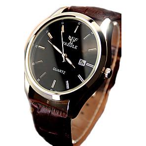ieftine Ceasuri Bărbați-Bărbați Ceas de Mână Quartz Piele Negru / Maro 30 m Rezistent la Apă Calendar Luminos Analog Clasic Elegant Ceas simplu - Negru / Alb Negru Maro / Alb Un an Durată de Viaţă Baterie / Oțel inoxidabil