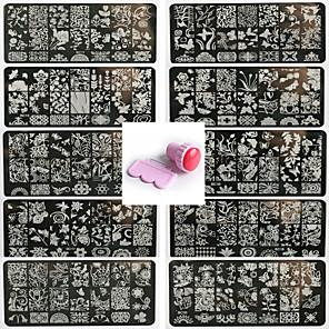 ieftine Îngrijire Unghii-10pcs nail art pattren sigiliu șablon unghii dantelă da 1 set de instrumente de etanșare 12x6cm