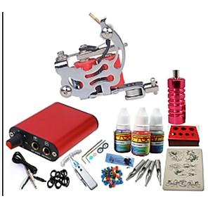 ieftine Kit Începător Tatuaj-BaseKey Masina Tatuaje Set de început - 1 pcs Mașini de tatuat cu 1 x 15 ml cerneluri tatuaj Sursă energie mini No case 1 x aparat de tatuat din oțel pentru linii și umbre