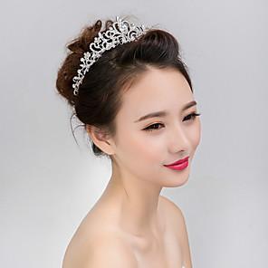 ieftine Bijuterii de Păr-Pentru femei Fete Tiare Pentru Nuntă Petrecere Bal Coroane Homecoming Royalty Flori Perle Cristal Diamante Artificiale Argintiu / Aliaj