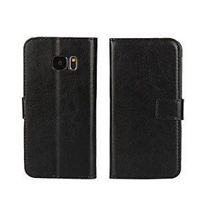 Недорогие Чехлы и кейсы для Lenovo-Кейс для Назначение SSamsung Galaxy S7 edge / S7 / S6 edge Кошелек / Бумажник для карт / со стендом Чехол Однотонный Кожа PU
