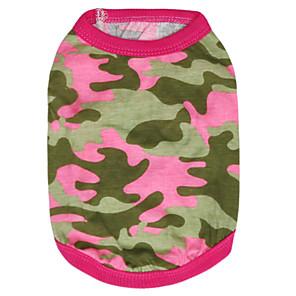 ieftine Imbracaminte & Accesorii Căței-Pisici Câine Tricou camuflaj Modă Îmbrăcăminte Câini Respirabil Verde Trandafiriu Costume Bumbac XS S M L