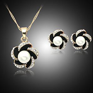 ieftine Seturi de Bijuterii-Pentru femei Perle Seturi de bijuterii Colier / cercei Floare femei Perle Imitație de Perle Ștras cercei Bijuterii Negru / Bleumarin / Albastru Pentru Nuntă Petrecere Zilnic / Argilă / Cercei