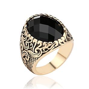ieftine Inele-Bărbați Inel Inel sigiliu Zirconiu Cubic Auriu Argintiu Piatră Preţioasă Oval De Bază Militar scoţian Aniversare Bijuterii Magie