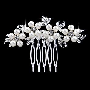 ieftine Bijuterii de Păr-Pentru femei Piepteni de Păr Pentru Nuntă Petrecere Cristal Imitație de Perle Diamante Artificiale Argintiu