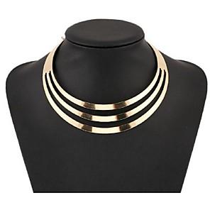 ieftine Colier la Modă-Pentru femei Perle Coliere Choker Coliere Multistratificat Coliere cu Pieptar femei European Modă Multistratificat Aliaj Auriu Argintiu Coliere Bijuterii Pentru Petrecere Ocazie specială Zi de
