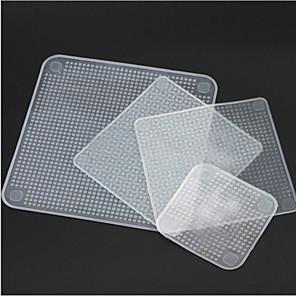 abordables Rangement de Cuisine-Les emballages frais de nourriture de silicone 4pcs gardent les outils de cuisine extensibles de couverture de sceau réutilisables