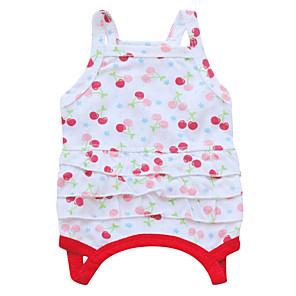 ieftine Ustensile & Gadget-uri de Copt-Pisici Câine Rochii Îmbrăcăminte Câini Respirabil Alb Verde Rosu Costume Bumbac Floral / Botanic Modă XS S M L