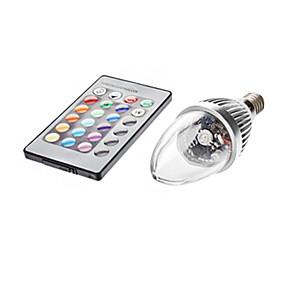 1pc 3 W 450-700 lm E14 LED-lysestakepærer C35 1 LED perler Fjernstyrt RGB 85-265 V / #