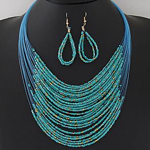 ieftine Colier la Modă-Pentru femei Seturi de bijuterii Colier / cercei Ștrasuri Multistratificat femei Boem European Modă Boho Elegant Reșină cercei Bijuterii Negru / Curcubeu / Verde Pentru Petrecere Zi de Naștere